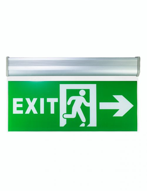 LED Emergency light Philippines Fire Exit Double Face Glass Plastic Single Arrow Black Green